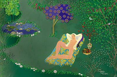 Woman In Garden With Pond Poster by Gabriela Delgado