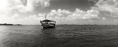 Wooden Boat In The Ocean, Morro De Sao Poster
