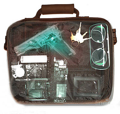 X-ray Of A Briefcase With A Gun Poster by Scott Camazine