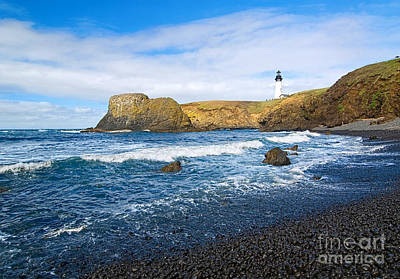 Yaquina Lighthouse On Top Of Rocky Beach Poster