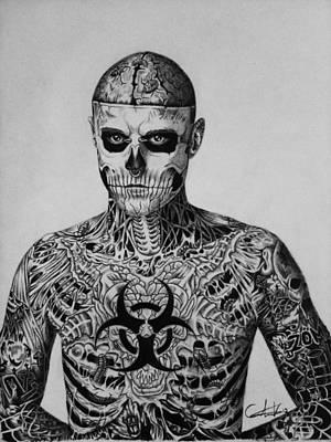 Zombie Boy Rick Genest Poster by Carlos Velasquez Art