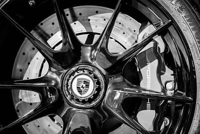 2011 Porsche 997 Gt3 Rs 3.8 Wheel Emblem -0989bw Poster