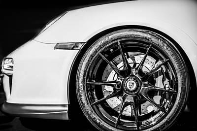 2011 Porsche 997 Gt3 Rs 3.8 Wheel Emblem -0998bw Poster