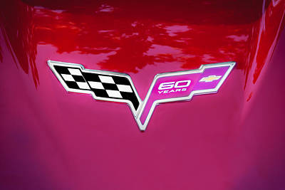 2013 Corvette 60th Anniversary Hood Logo Painted Poster by Rich Franco