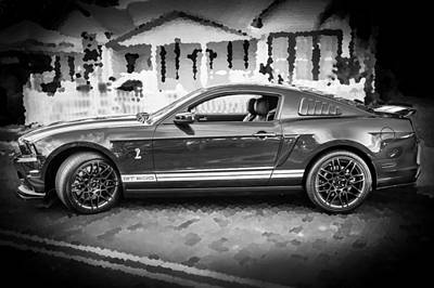 2013 Ford Mustang Shelby Gt 500 Bw Poster by Rich Franco