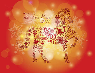 2014 Happy New Year Of The Horse With Snowflakes Pattern Poster by Jit Lim