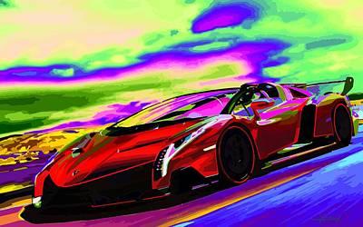 2014 Lamborghini Veneno Roadster Abstract Poster