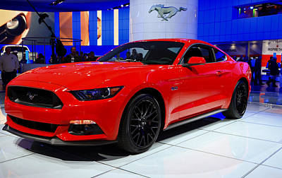 2015 Mustang In Red Poster by Rachel Cohen