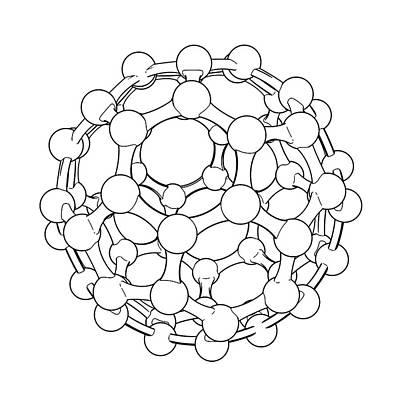 Buckminsterfullerene Molecule Poster by Russell Kightley
