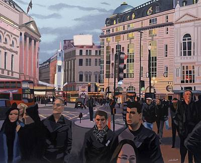 Piccadilly Circus Poster by Malcolm Warrilow