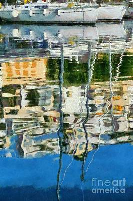 Reflections In Mikrolimano Port Poster
