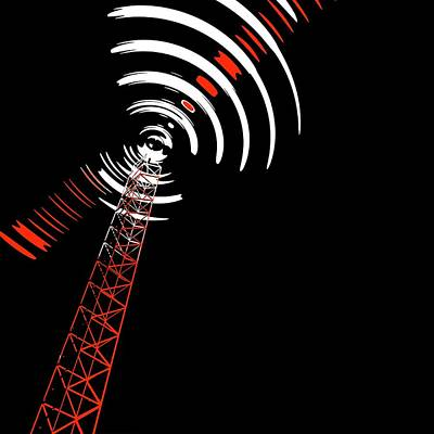 Radio Communications Tower Poster by Russell Kightley