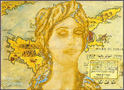 Ancient Cyprus Map And Aphrodite Poster by Augusta Stylianou