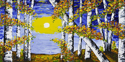 White Birch Trees In Fall Abstract Painting Poster by Keith Webber Jr