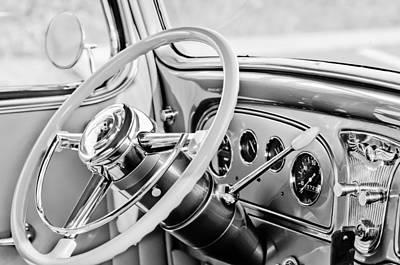 1933 Pontiac Steering Wheel -0463bw Poster by Jill Reger