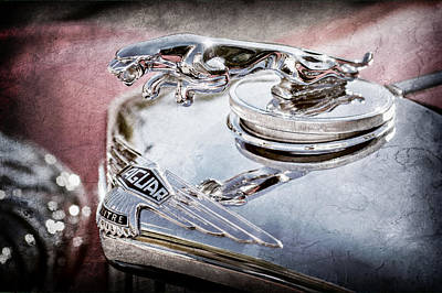 1948 Jaguar Mark Iv Drophead Coupe Hood Ornament Poster by Jill Reger