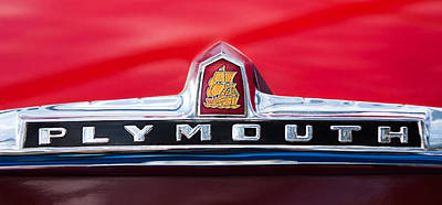 1949 Plymouth P-18 Special Deluxe Convertible Emblem Poster by Jill Reger
