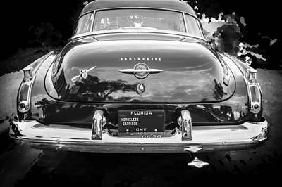 1950 Oldsmobile 88 Futurmatic Coupe Bw Poster by Rich Franco
