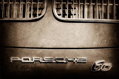 1963 Porsche 356 B 1600 Coupe By Karman Rear Emblem Poster by Jill Reger