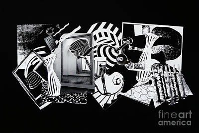 Poster featuring the mixed media 2d Elements In Black And White by Xueling Zou