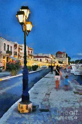 Aegina Port During Dusk Time Poster by George Atsametakis