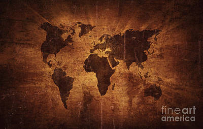 Aged World Map On Dirty Paper Poster