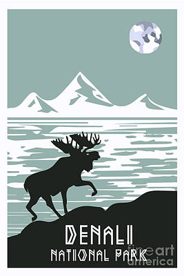 Alaska Denali National Park Poster  Poster by Celestial Images