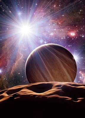 Alien Planet And Star Cluster Poster by Detlev Van Ravenswaay
