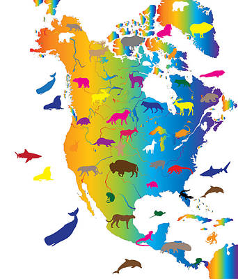 Animal Map Of North America Poster
