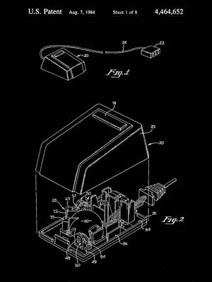 Apple Mouse Patent 1984 - Black Poster by Stephen Younts