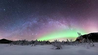 Aurora Borealis And Milky Way Poster