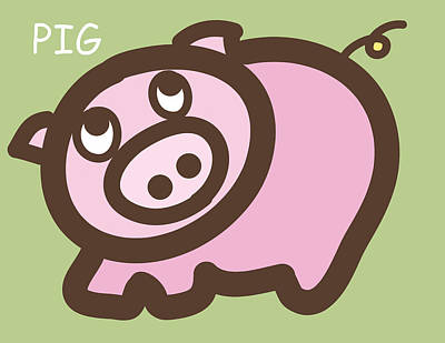 Baby Pig Art For The Nursery Poster by Nursery Art