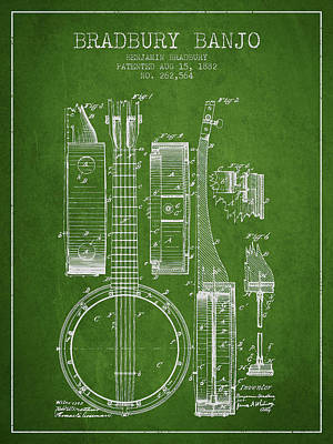 Banjo Patent Drawing From 1882 - Green Poster