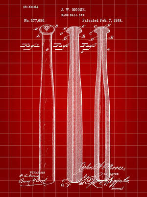 Baseball Bat Patent 1888 - Red Poster