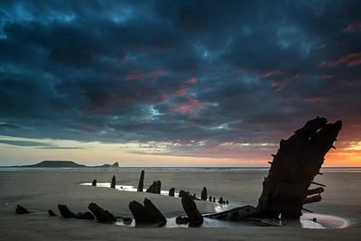 Beautiful Dramatic Sunset Landscape Over Shipwreck On Rhosilli B Poster