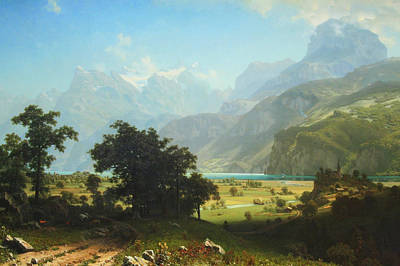 Bierstadt's Lake Lucerne Poster by Cora Wandel