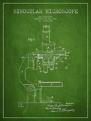 Binocular Microscope Patent Drawing From 1931 - Green Poster by Aged Pixel