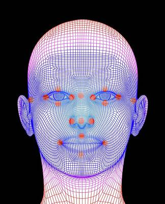 Biometric Facial Map Poster by Alfred Pasieka