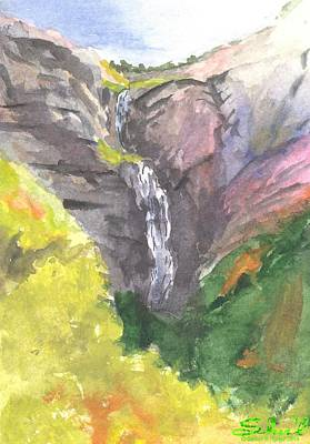Poster featuring the painting Bridal Veil Falls by Sherril Porter
