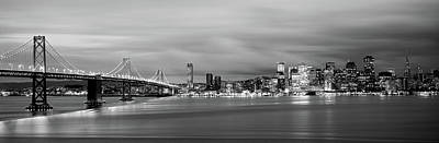 Bridge Lit Up At Dusk, Bay Bridge, San Poster by Panoramic Images