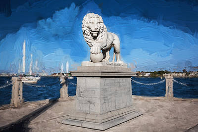 Bridge Of Lions St Augustine Florida Painted  Poster by Rich Franco