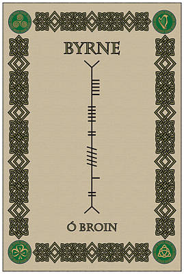 Poster featuring the digital art Byrne Written In Ogham by Ireland Calling