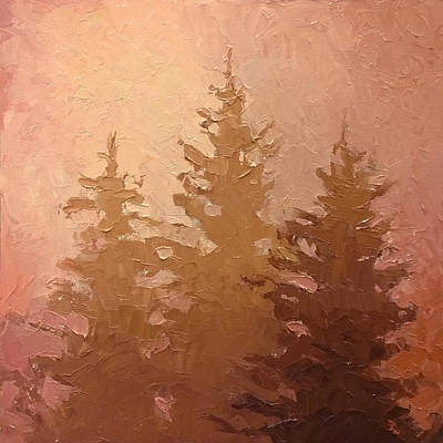 3 Cedars In The Fog No. 2 Poster by Karen Whitworth