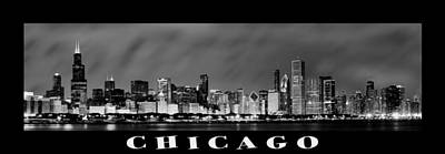 Chicago Skyline At Night In Black And White Poster by Sebastian Musial