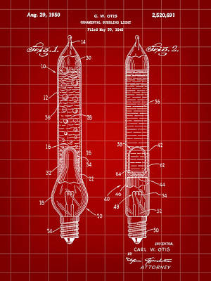 Christmas Bubbling Light Bulb Patent 1945 - Red Poster by Stephen Younts