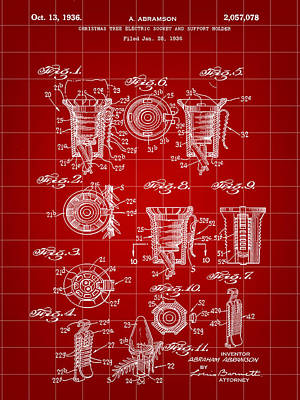 Christmas Bulb Socket Patent 1936 - Red Poster by Stephen Younts