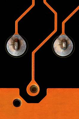 Circuit Board Tin Contacts Poster by Antonio Romero