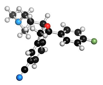 Citalopram Anti-depressant Drug Molecule Poster