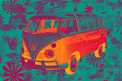Classic Vw 21 Window Mini Bus Poster by Keith Webber Jr