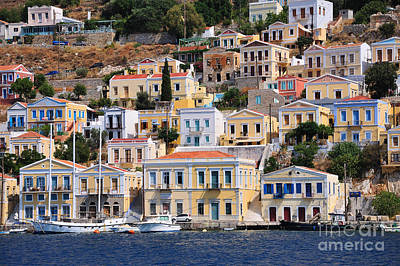 Colorful Symi Poster by George Atsametakis